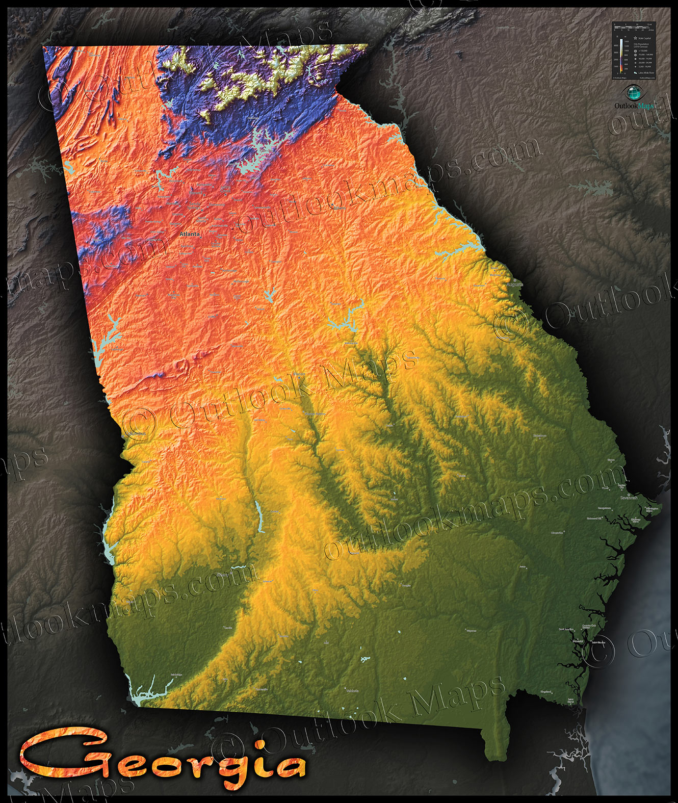 Topographic Georgia State Map