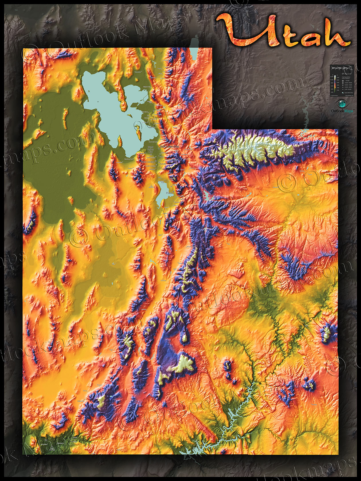 Physical Map Of Utah Topography