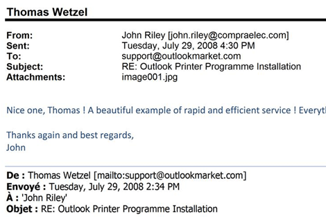 print outlook emails in