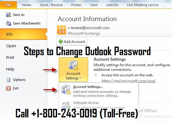 Change Outlook Email Password