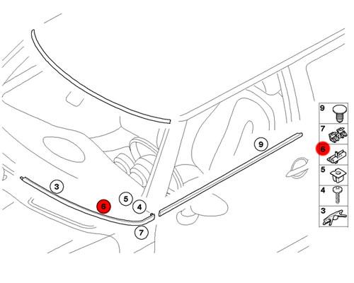 07131490537 MINI Cooper Replace Windshield Trim Clip
