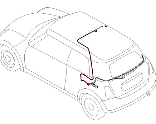 54347079879 MINI Cooper Replacement Wiring Set: Folding