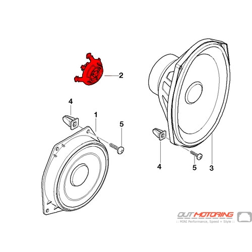 MINI Cooper R50 R52 R53 Front Upper Door Speaker Tweeter