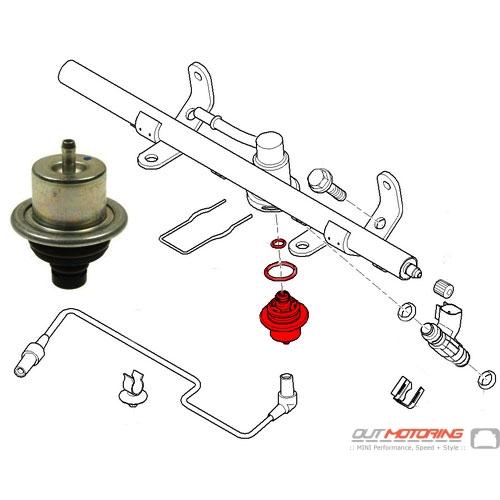 mini cooper suspension diagram john deere z425 mower wiring fuel pressure data replacement regulator 13317574131 rear