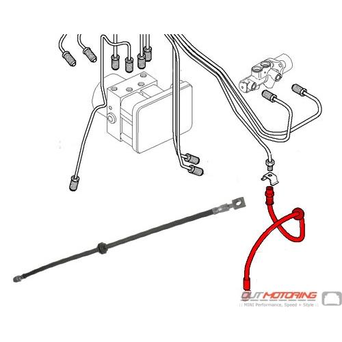 34306794002 MINI Cooper Brake Line Hose Front: R50 R52 R53