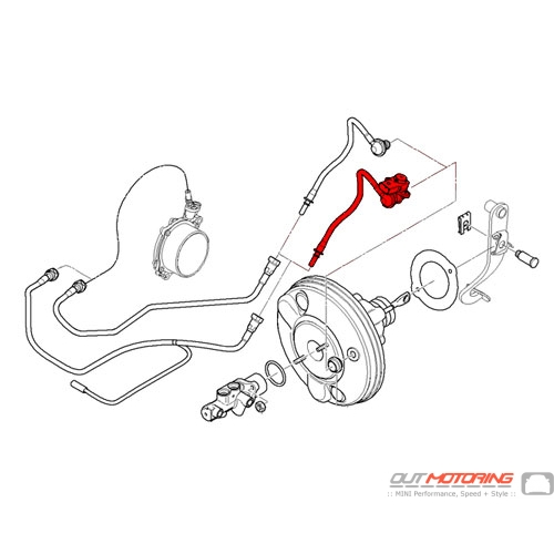 MINI Cooper Brake Servo Unit Vacuum Line w/ Pressure