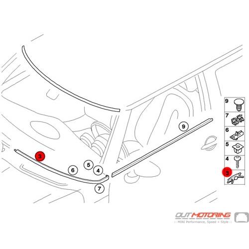51317111933 MINI Cooper Replacement Windshield Trim Clip