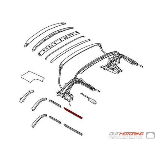 54342758102 MINI Cooper Replacement Rail Seal Front Right