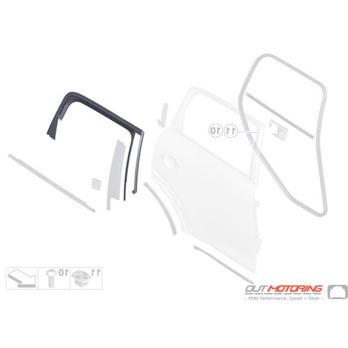 51359800613 MINI Cooper Replacements Window Guide Rear