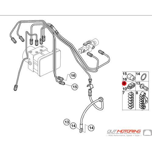 07131029573 MINI Cooper Replacement Brake Pipe Spacer