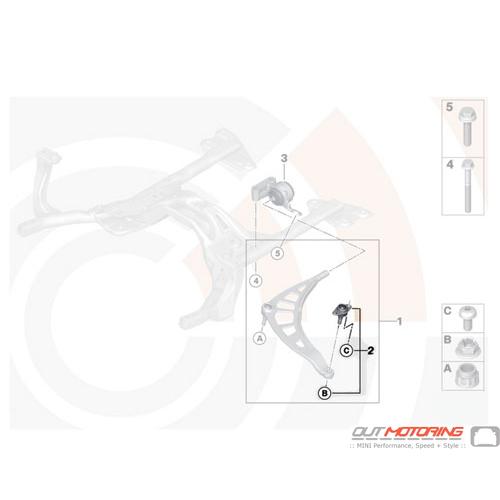 31122444416 MINI Cooper Replacement Repair Kit Wheel Guide