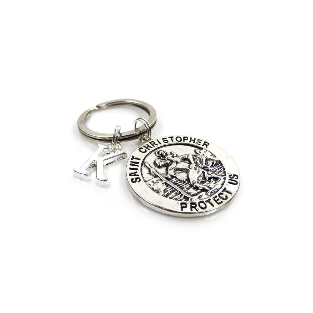 Personalised St Christopher Keyring with Initial Charm and