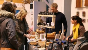 Artists show off their jewellery and accessories at a Christmas Arts Market