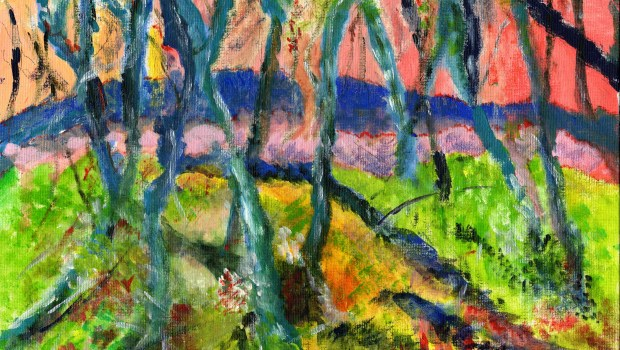 Painting of a forest as part of the Craft Cafe exhibition