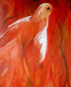 FIREBIRD Oil on stretched canvas. 51 x 61 cm