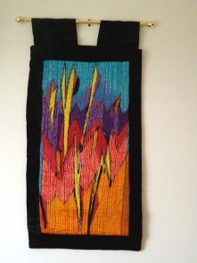 Lightning Wall hanging Hand & machine embroidered with velvet frame. SOLD