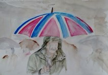 Man under brollie. watercolour