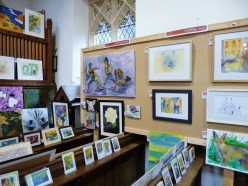 Mentmore Arts Festival. St. Mary's Church, interior and exhibition.