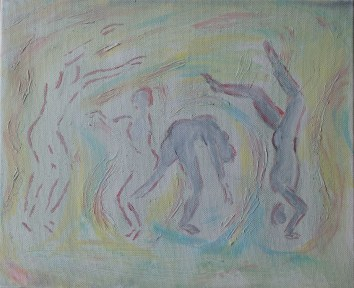 Acrylic painting on the theme of Exercise. Unfinished.