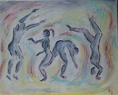 Finished acrylic painting on the theme of Exercise.