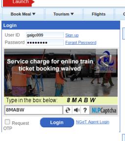 Indian Railways login form
