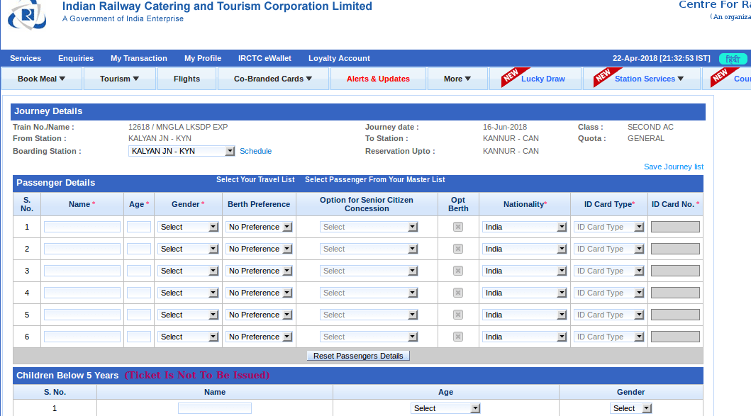 Booking an Indian Railways train