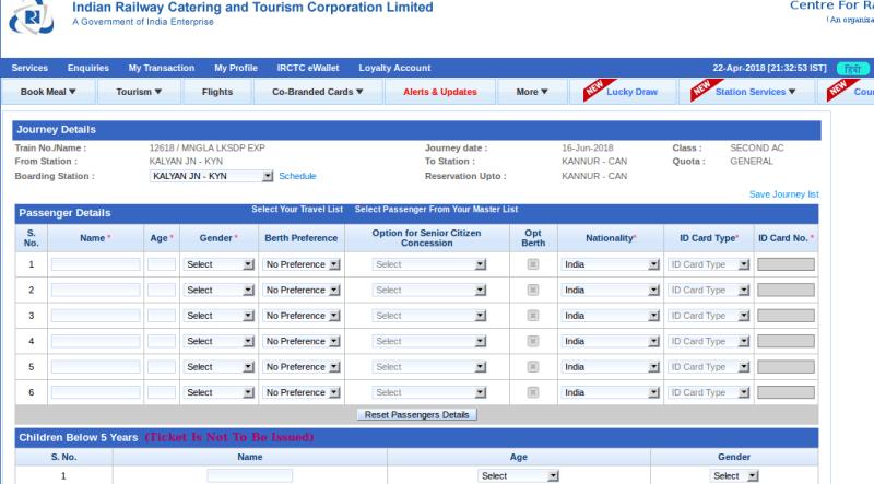 Booking an Indian Railways train