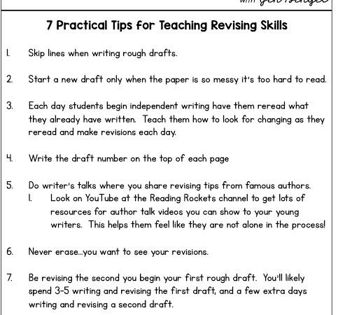 7 Practical Tips for Teaching Revising Skills