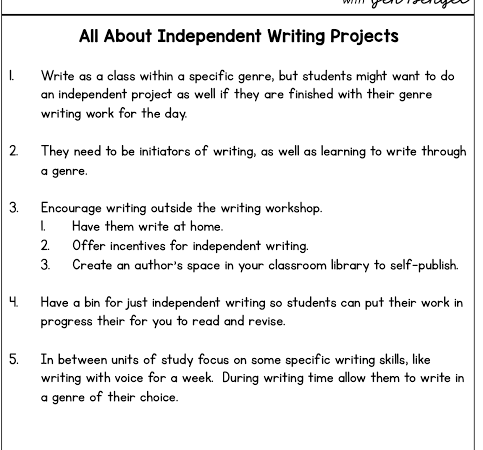 All About Independent Writing Projects