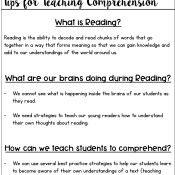 Tips for Teaching Comprehension