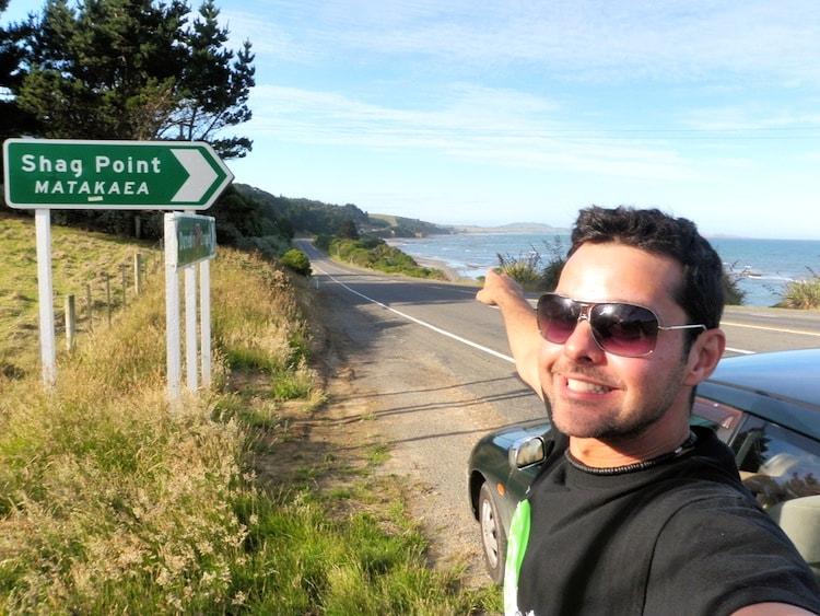 Shag Point Road Sign New Zealand
