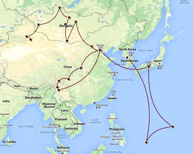 Itinerário para Ásia