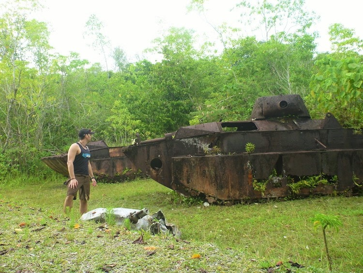 Old Combat Tanks from the Second World War Battle in Peleliu, Palau