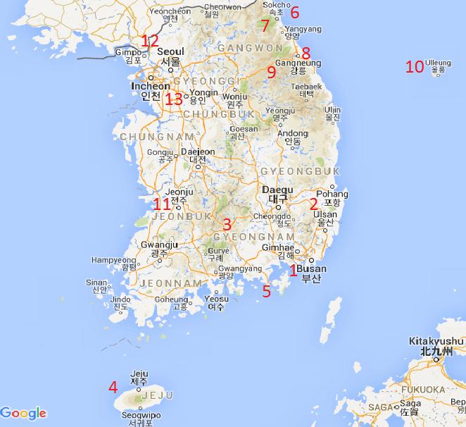 Mapa da Coreia do Sul com atrações turísticas