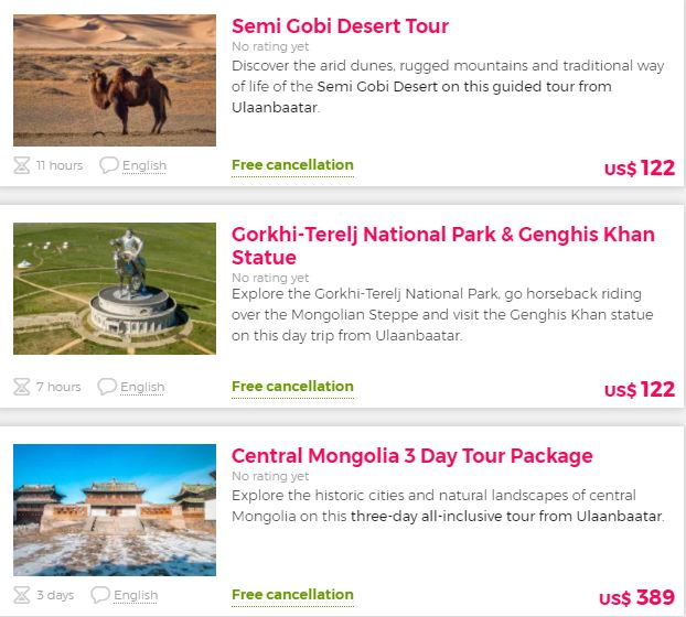 Best attractions in Mongolia