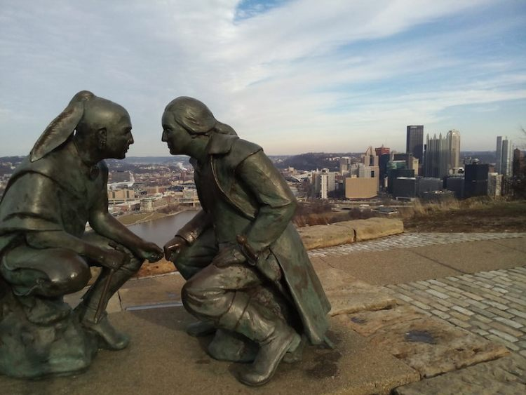 George Washington e o líder da tribo Seneca, Guyasuta Pittsburgh