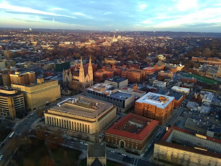 View from the top of the Cathedral of Learning Pittsburgh