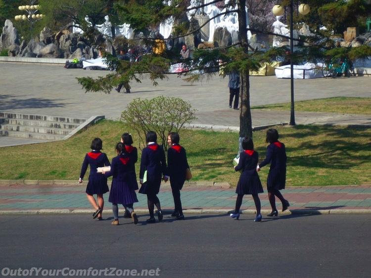 North Korean schoolgirl children Pyongyang