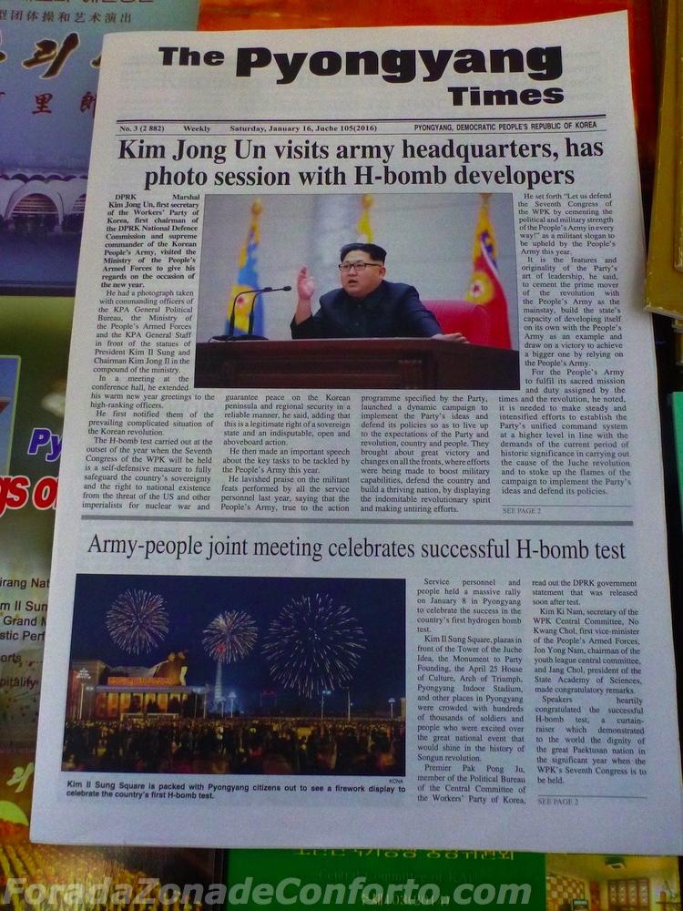 Pyongyang Times Coreia do Norte propaganda H-bomb teste