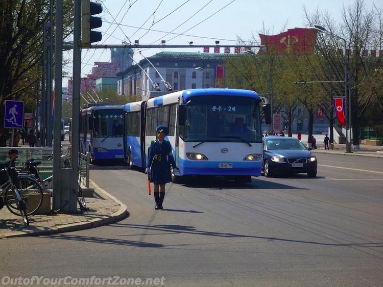 North Korea traffic lady Pyongyang