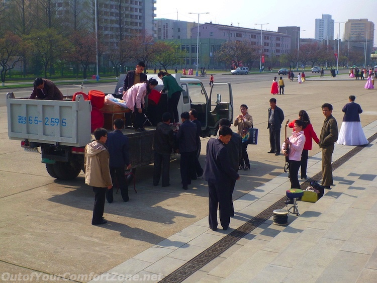Pyongyang North Korea local people full truck