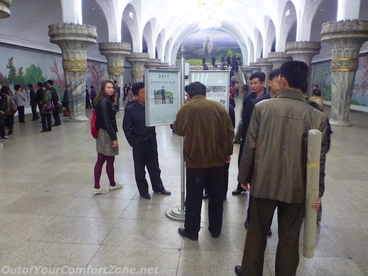 Western foreigner inside Pyongyng North Korea metro station