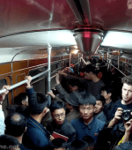 North Korean locals on Pyongyang metro