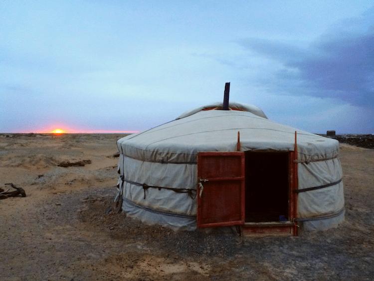 sunset ger mongolia
