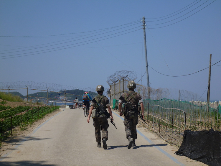 South Korean Soldiers by the beach
