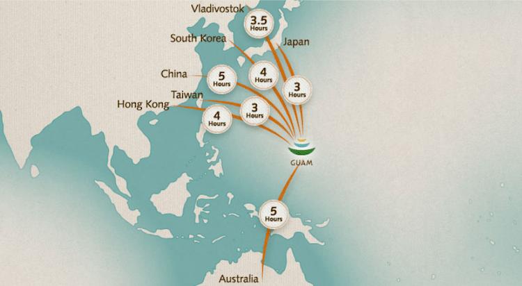Guam flights distance map
