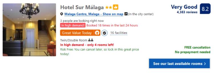 Bom hotel em Malaga