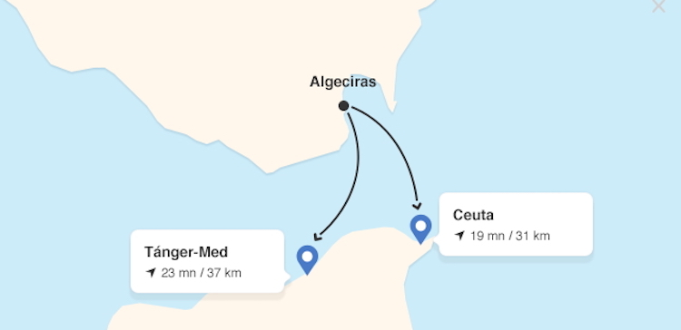 Ferrys to Ceuta map