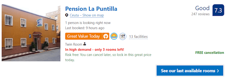 Cheap hotel in Ceuta