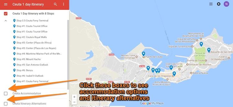 Roteiro de atrações em Ceuta